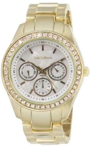 Damen Armbanduhr Strass Akzent Grosse Gesicht in Gold-Ton Jade LeBaum JB202729G