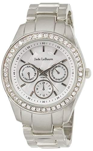 Damen Silber Armbanduhr Kristall Luenette Grosse Gesicht Jade LeBaum JB202730G
