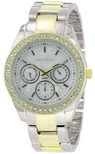 Damen Armbanduhr Strass Akzent Zweifarbige grosses Gesicht Jade LeBaum JB202731G