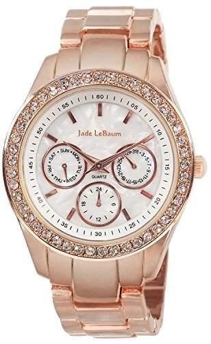 Frauen Rose Gold Armbanduhr Strass-Luenette Designer Jade LeBaum JB202732G
