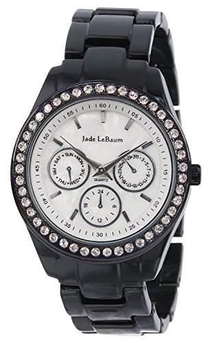 Damen-Schwarz-Emaille und Strass Akzent Armbanduhr Jade LeBaum JB202733G