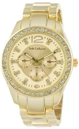 Frauen Gold Ton Armbanduhr Strass Akzent Luenette Jade LeBaum JB202734G