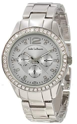 Damen Silber Armbanduhr Grosse Gesicht Strass Akzent Luenette Jade LeBaum JB202737G