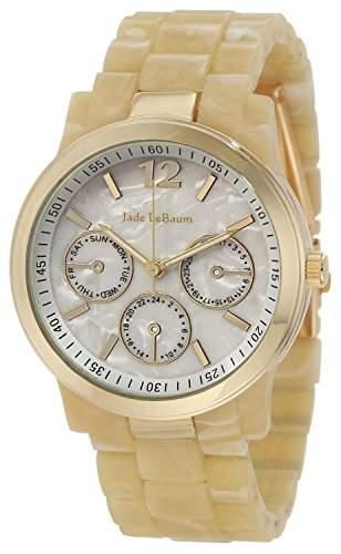Damen Creme Horn Farbe Armbanduhr Gold Case Perlmutt-Zifferblatt Jade LeBaum JB202741G