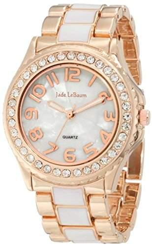 Damen Armbanduhr Rose Gold und weisse Zwei Ton grosse einfache lesen Dial-Kristallanzeigetafel Jade LeBaum JB202744G