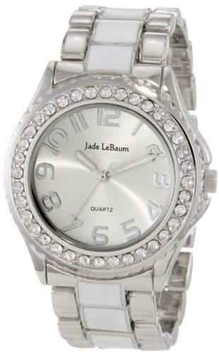Damen Silber und Weiss Zwei Ton Epoxidharz-Armbanduhr mit Strass Akzent Grosse Gesicht Jade LeBaum JB202746G