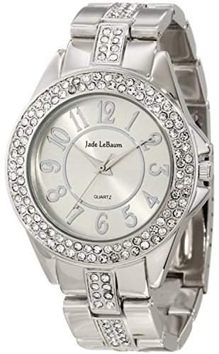 Damen Armbanduhr Silber Ton Kristall verschoenerter Jade LeBaum JB202749G
