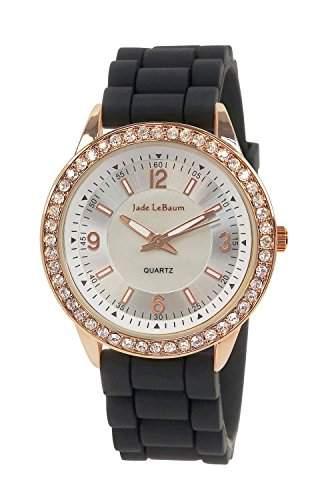 Damen Schwarz Silikon Armbanduhr Grosse Roségold Kristall Luenette Jade LeBaum JB202755G