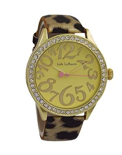 Damen Mode Armbanduhr Leopardenmuster Lederband Gold ton Zifferblatt Kristall Luenette Jade LeBaum - JB202870G