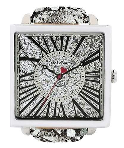 Damen Quadratisch Gesichts-Uhr Roemische Ziffern Grau Lederband Jade LeBaum - JB202872G