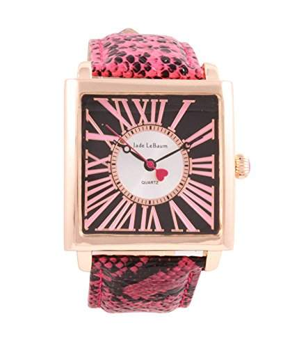 Damen Quadratisches Gesicht Armbanduhr roemischen Ziffern Rosa Lederband Rose Gold-Ton-Fall Jade LeBaum - JB202873G