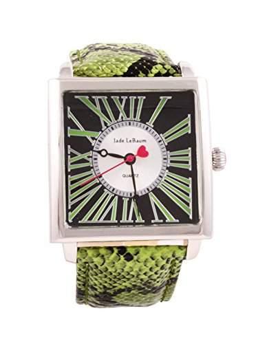 Damen Grosse Quadratisches Gesicht Armbanduhr roemischen Ziffern Gruene Lederband-Silber-Ton-Fall Jade LeBaum - JB202874G