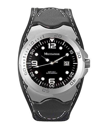 Mountaineer Herren Sportarten Uhr Schwarz Leder und Nylon Klettband Weiss Stitching Reloj Para Hombre MN1450