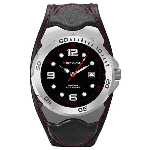 Mountaineer Herren Sportarten Uhr Schwarz Leder und Nylon Klettband Uhr Rot Stitching Reloj Para Hombre MN1451