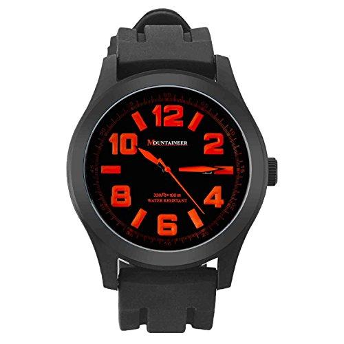 Mountaineer Herren Sportarten Uhr Schwarz Silikon Gummi Band Gross Gesicht Orange Die Bezugszeichen Datum MN8041