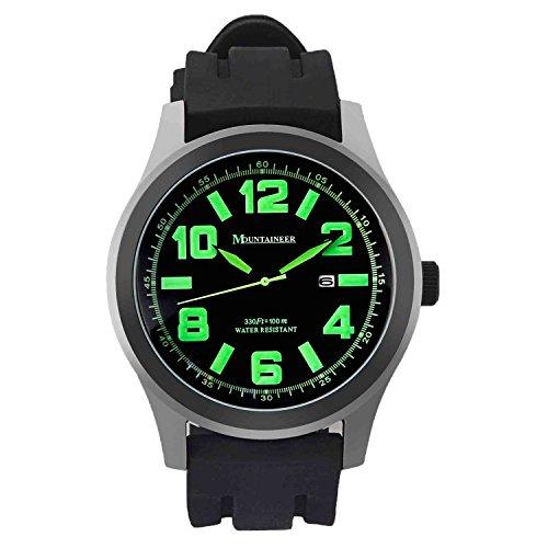 Mountaineer Herren Sportarten Uhr Schwarz Silikon Gummi Band Gross Gesicht Gruen Die Bezugszeichen Datum Reloj Hombre MN8042