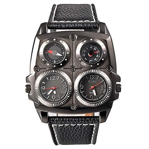 Herren Schwarz Uhr Grosse Gesicht Zweier Zeit Anzeige Schwarz Quadrat Zifferblatt Leder Band OM-166