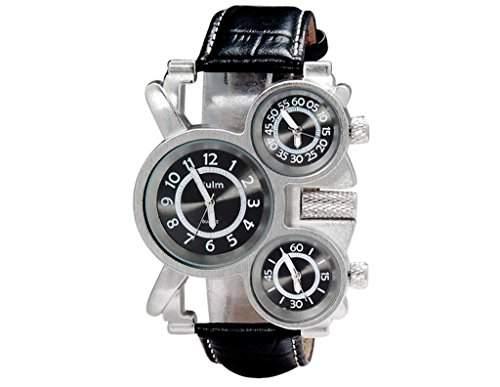 Herren UEbergrosse Uhr Einzigartige Dreifache Zeitanzeige Quarz Zifferblatt Schwarz Leder-band OM-162
