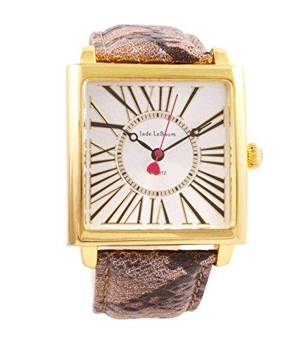 Damen Quadratisches Gesicht Armbanduhr roemischen Ziffern Braun Lederband Goldton Fall Jade LeBaum JB202875G