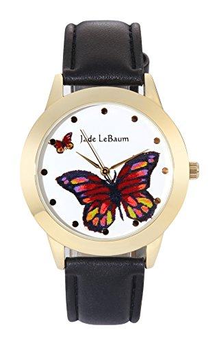 Jade LeBaum Gross Gesicht Schmetterling Zifferblatt Klassisch Schwarzes Lederarmband Reloj de Damas JB202811G