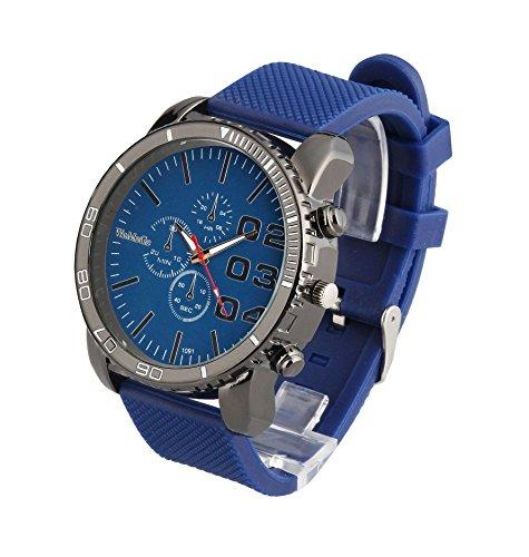 ShoppeWatch Herren grosses Gesicht Armbanduhr Faux Chronograph Zifferblatt Silikon Band reloj Para Hombre blau sw1091bl