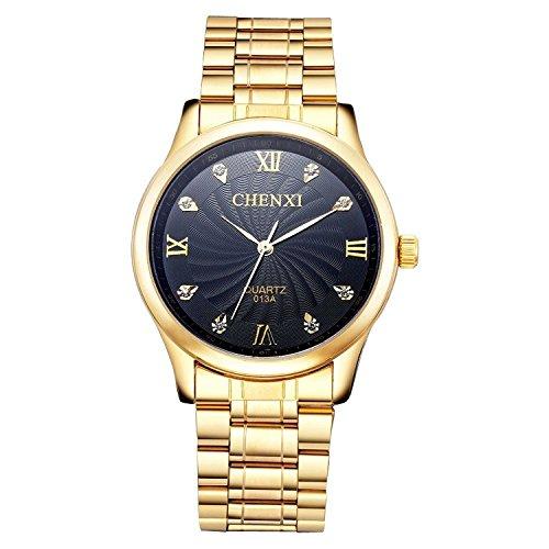 ShoppeWatch Herren Gold Armbanduhr IP vergoldet Metall Armband Schwarz Zifferblatt Crystal Marker reloj de Hombres SWCXGDBK
