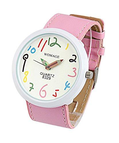 ShoppeWatch Pink leder Band grosses Gesicht Fashion Watch Easy Lesen reloj sw8329pkwh