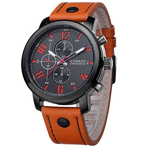 ShoppeWatch Big Face Leder Band leicht Lesen reloj Hombre Wasserdicht cr8192orbk