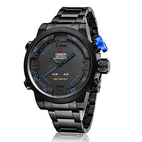 ShoppeWatch Herren LED Uhr Schwarz Metall Band Dual Zeit Datum Tage Sport Blau Hand Reloj de Hombre OH 252