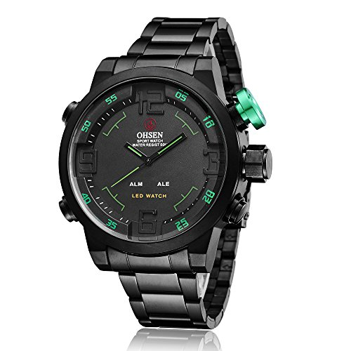 ShoppeWatch Herren LED Uhr Schwarz Metall Band Dual Zeit Datum Tage Sport Reloj de Hombres Gruene Haende OH 253