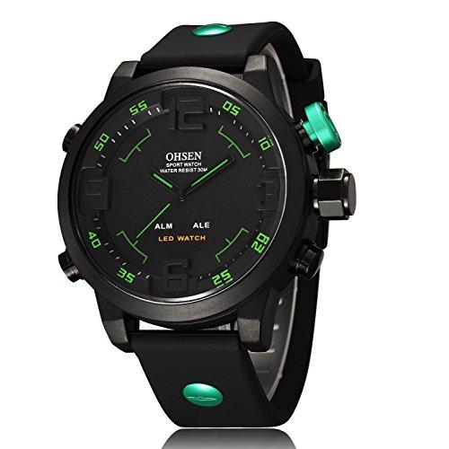 ShoppeWatch Herren LED Uhr Schwarz Silikonband Dual Time Datum Tage Sport Gruene Hand Reloj de Hombre OH 250