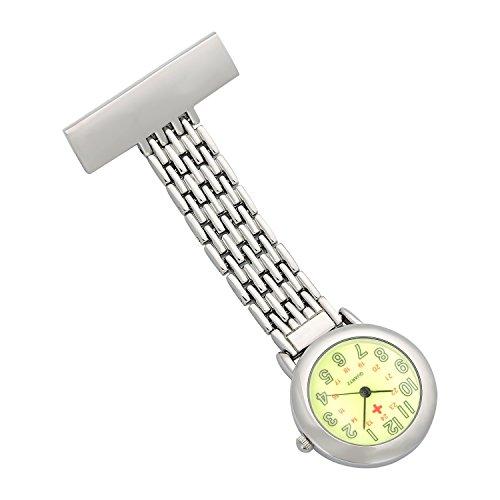 ShoppeWatch Krankenschwestern Revers Anstecknadel Uhr 24 Stunden Militaerzeit analogen Infektionskontrolle Uhr gruen Dial NW 235