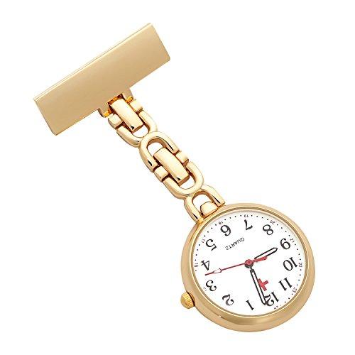 ShoppeWatch Krankenschwestern Revers Anstecknadel Uhr 24 Std Militaerzeit Analoger FOB Infektion Steuern Uhr Gold Ton NW 233