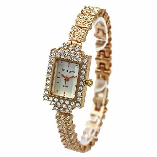 ShoppeWatch Bling Kristall akzentuierten Rose Gold Armband PETITE kleinen weissen Zifferblatt sw9504rswh