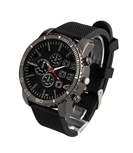 ShoppeWatch Herren Schwarz Armbanduhr Grosse Gesicht 50 mm Zifferblatt Silikon Band reloj Para Hombre schwarz