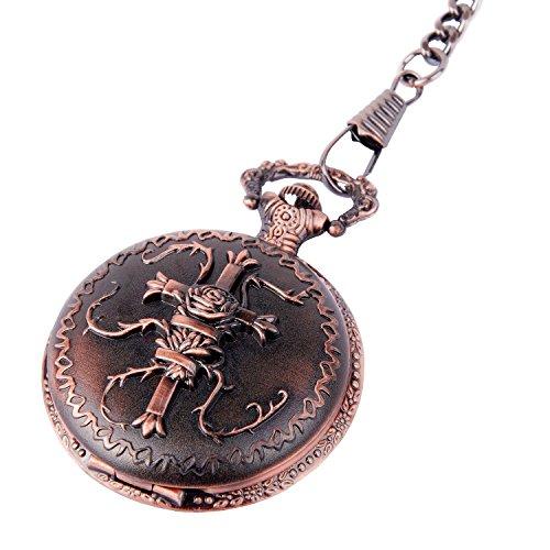 ShoppeWatch Taschenuhr Quarzwerk bronzefarbenes Kreuz Motiv Gehaeuse arabische Ziffern mit Kette Savonette preiswert PW 21