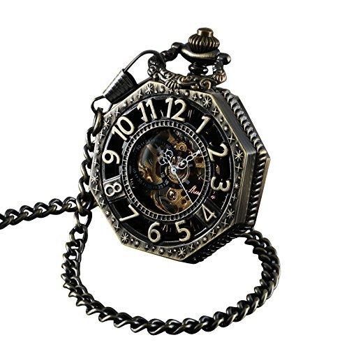 ShoppeWatch Taschenuhr mit Kette Antik Gold Ton Octagon Fall Steampunk mechanische Bewegung PW 221