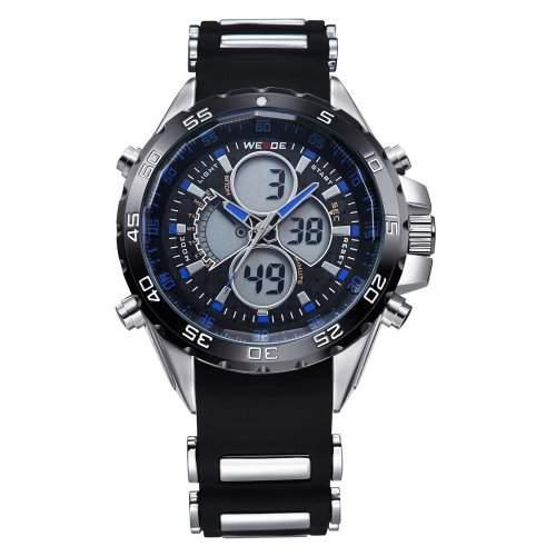Herren Sportart Uhr LCD Dualen Anzeige Analogen Digitalen Tag Datum Gummi Strap Quarz WH-117