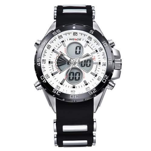 Herren Sportart Uhr LCD Dualen Anzeige Analogen Digitalen Tag Datum Gummi Strap Quarz WH-120