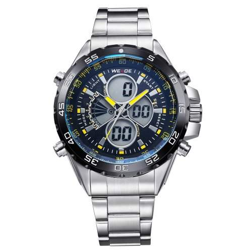Herren Sportart Uhr LCD Dualen Anzeige Analogen Digitalen Multifunktions- Metall Band Quarz-WH-115
