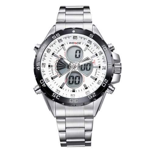 Herren Sportart Uhr LCD Dualen Anzeige Analogen Digitalen Multifunktions- Metall Band Quarz WH-116