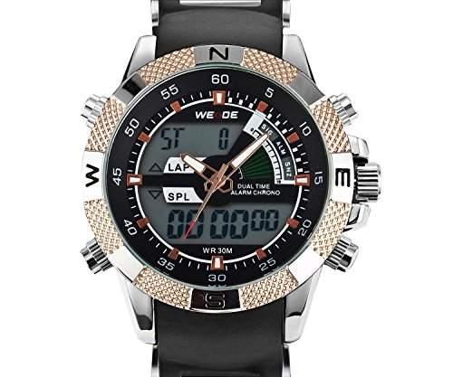 Herren Sportart Uhr Dualen Zeit Alarm Chronographen Analoge Digitalen LCD Gold Ton Akzent WH-88