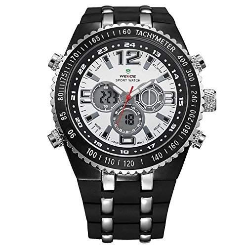 Herren Sportart Uhr Analoge Digitalen LCD Schwarzem Silikon Band Grosse Weiss Zifferblatt WH-123