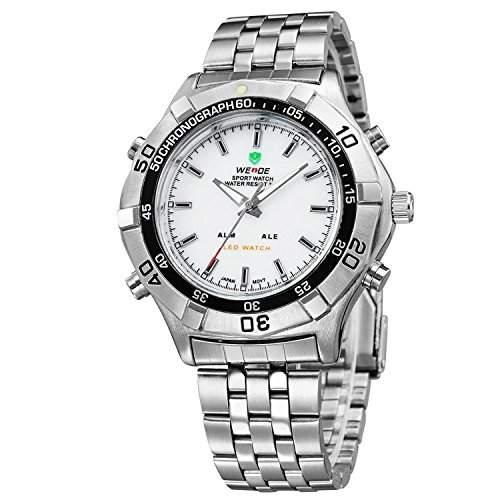 Herren Sportart Uhr Silber Ton Metallarmband Weissem Zifferblatt Analoge Digitalen LED Dualen Zeit WH-133