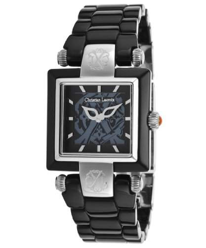 Christian Lacroix Damen-Armbanduhr 29mm Armband Plastik Schwarz + Gehaeuse Quarz Analog 8004401