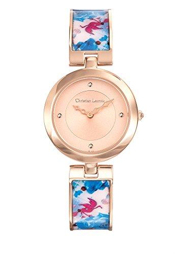 Zeigt Damen Christian Lacroix Flower Zone Stahl PVD rose Armband lackiert bedruckt 8010109