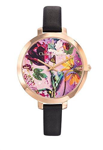 Zeigt Damen Christian Lacroix Flower Zone Stahl PVD rose Armband Leder Schwarz 8009707