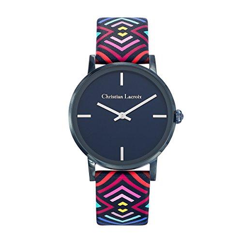 Zeigt Damen Christian Lacroix unglaubliche Stahl PVD Blau Nacht Armband Leder bedruckt 8010302