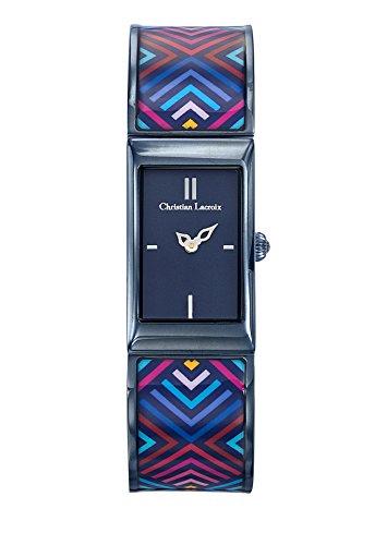Zeigt Damen Christian Lacroix unglaubliche Armband Stahl PVD Blau lackiert bedruckt 8010208