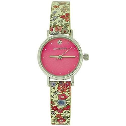 Accessorize Damenuhr rosa Zifferbl Schnallenverschluss Blumenmuster Band AZ2020